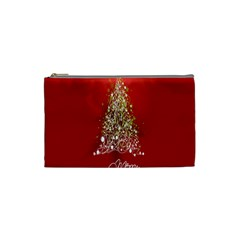 Tree Merry Christmas Red Star Cosmetic Bag (small)  by Alisyart