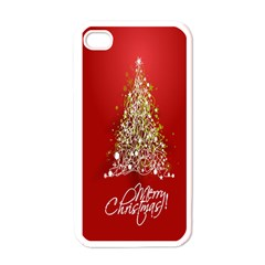 Tree Merry Christmas Red Star Apple Iphone 4 Case (white)
