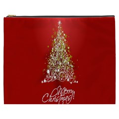 Tree Merry Christmas Red Star Cosmetic Bag (xxxl)