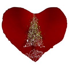Tree Merry Christmas Red Star Large 19  Premium Heart Shape Cushions by Alisyart