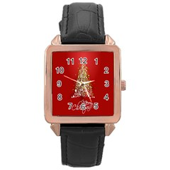 Tree Merry Christmas Red Star Rose Gold Leather Watch  by Alisyart