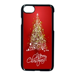 Tree Merry Christmas Red Star Apple Iphone 8 Seamless Case (black) by Alisyart