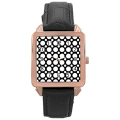 Tileable Circle Pattern Polka Dots Rose Gold Leather Watch  by Alisyart