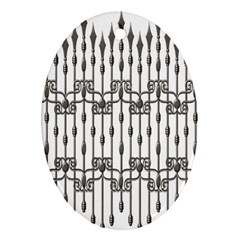 Iron Fence Grey Strong Oval Ornament (two Sides) by Alisyart