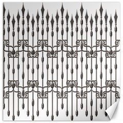 Iron Fence Grey Strong Canvas 12  X 12   by Alisyart