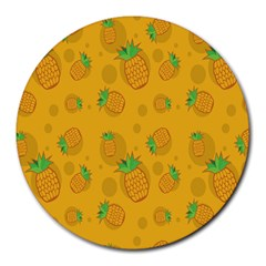 Fruit Pineapple Yellow Green Round Mousepads