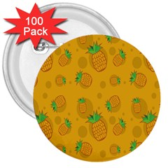 Fruit Pineapple Yellow Green 3  Buttons (100 Pack)  by Alisyart