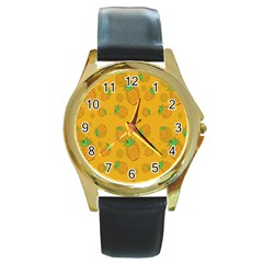 Fruit Pineapple Yellow Green Round Gold Metal Watch by Alisyart