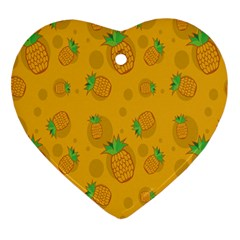 Fruit Pineapple Yellow Green Heart Ornament (two Sides) by Alisyart