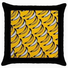 Fruit Bananas Yellow Orange White Throw Pillow Case (black) by Alisyart