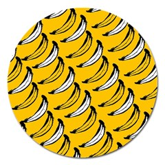 Fruit Bananas Yellow Orange White Magnet 5  (round) by Alisyart