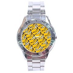Fruit Bananas Yellow Orange White Stainless Steel Analogue Watch