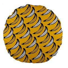 Fruit Bananas Yellow Orange White Large 18  Premium Flano Round Cushions