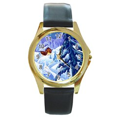Christmas Wooden Snow Round Gold Metal Watch