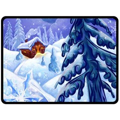 Christmas Wooden Snow Fleece Blanket (large)  by Alisyart
