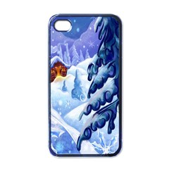 Christmas Wooden Snow Apple Iphone 4 Case (black)