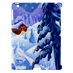 Christmas Wooden Snow Apple Ipad 3/4 Hardshell Case (compatible With Smart Cover) by Alisyart