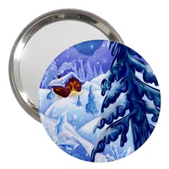 Christmas Wooden Snow 3  Handbag Mirrors