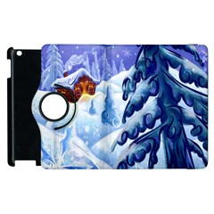 Christmas Wooden Snow Apple Ipad 3/4 Flip 360 Case by Alisyart