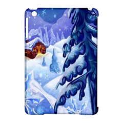 Christmas Wooden Snow Apple Ipad Mini Hardshell Case (compatible With Smart Cover)