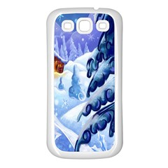 Christmas Wooden Snow Samsung Galaxy S3 Back Case (white)