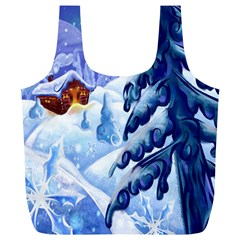 Christmas Wooden Snow Full Print Recycle Bags (l)