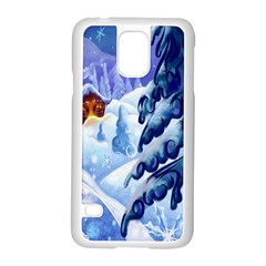 Christmas Wooden Snow Samsung Galaxy S5 Case (white)