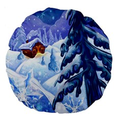 Christmas Wooden Snow Large 18  Premium Flano Round Cushions