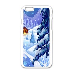 Christmas Wooden Snow Apple Iphone 6/6s White Enamel Case