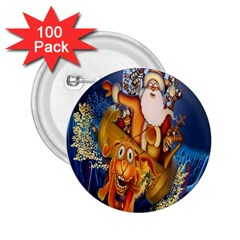 Deer Santa Claus Flying Trees Moon Night Christmas 2 25  Buttons (100 Pack)  by Alisyart