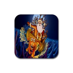 Deer Santa Claus Flying Trees Moon Night Christmas Rubber Coaster (square)