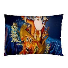 Deer Santa Claus Flying Trees Moon Night Christmas Pillow Case