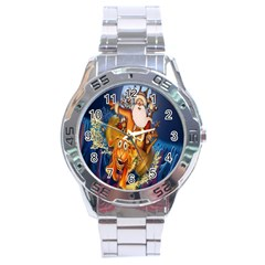 Deer Santa Claus Flying Trees Moon Night Christmas Stainless Steel Analogue Watch