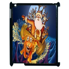 Deer Santa Claus Flying Trees Moon Night Christmas Apple Ipad 2 Case (black)