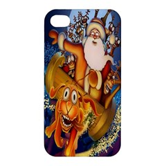 Deer Santa Claus Flying Trees Moon Night Christmas Apple Iphone 4/4s Hardshell Case