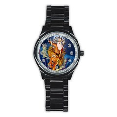 Deer Santa Claus Flying Trees Moon Night Christmas Stainless Steel Round Watch