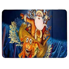 Deer Santa Claus Flying Trees Moon Night Christmas Samsung Galaxy Tab 7  P1000 Flip Case