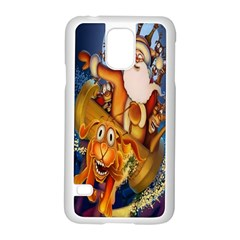 Deer Santa Claus Flying Trees Moon Night Christmas Samsung Galaxy S5 Case (white)