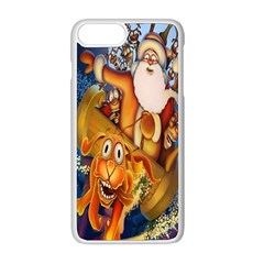 Deer Santa Claus Flying Trees Moon Night Christmas Apple Iphone 8 Plus Seamless Case (white)