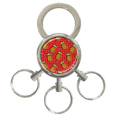 Fruit Pineapple Red Yellow Green 3 Ring Key Chains by Alisyart