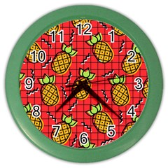Fruit Pineapple Red Yellow Green Color Wall Clocks by Alisyart