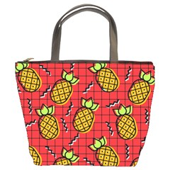 Fruit Pineapple Red Yellow Green Bucket Bags by Alisyart