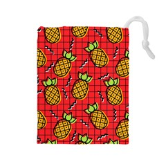Fruit Pineapple Red Yellow Green Drawstring Pouches (large)  by Alisyart