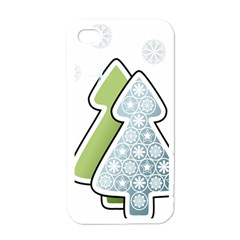 Tree Spruce Xmasts Cool Snow Apple Iphone 4 Case (white)