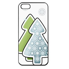 Tree Spruce Xmasts Cool Snow Apple Iphone 5 Seamless Case (black) by Alisyart