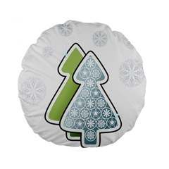 Tree Spruce Xmasts Cool Snow Standard 15  Premium Flano Round Cushions