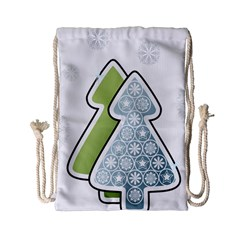 Tree Spruce Xmasts Cool Snow Drawstring Bag (small)