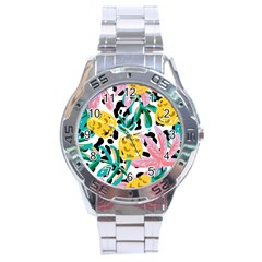 Fruit Pattern Pineapple Leaf Stainless Steel Analogue Watch