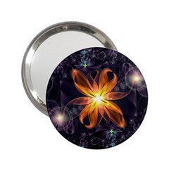 Beautiful Orange Star Lily Fractal Flower At Night 2 25  Handbag Mirrors by jayaprime