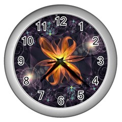Beautiful Orange Star Lily Fractal Flower At Night Wall Clocks (silver)  by jayaprime